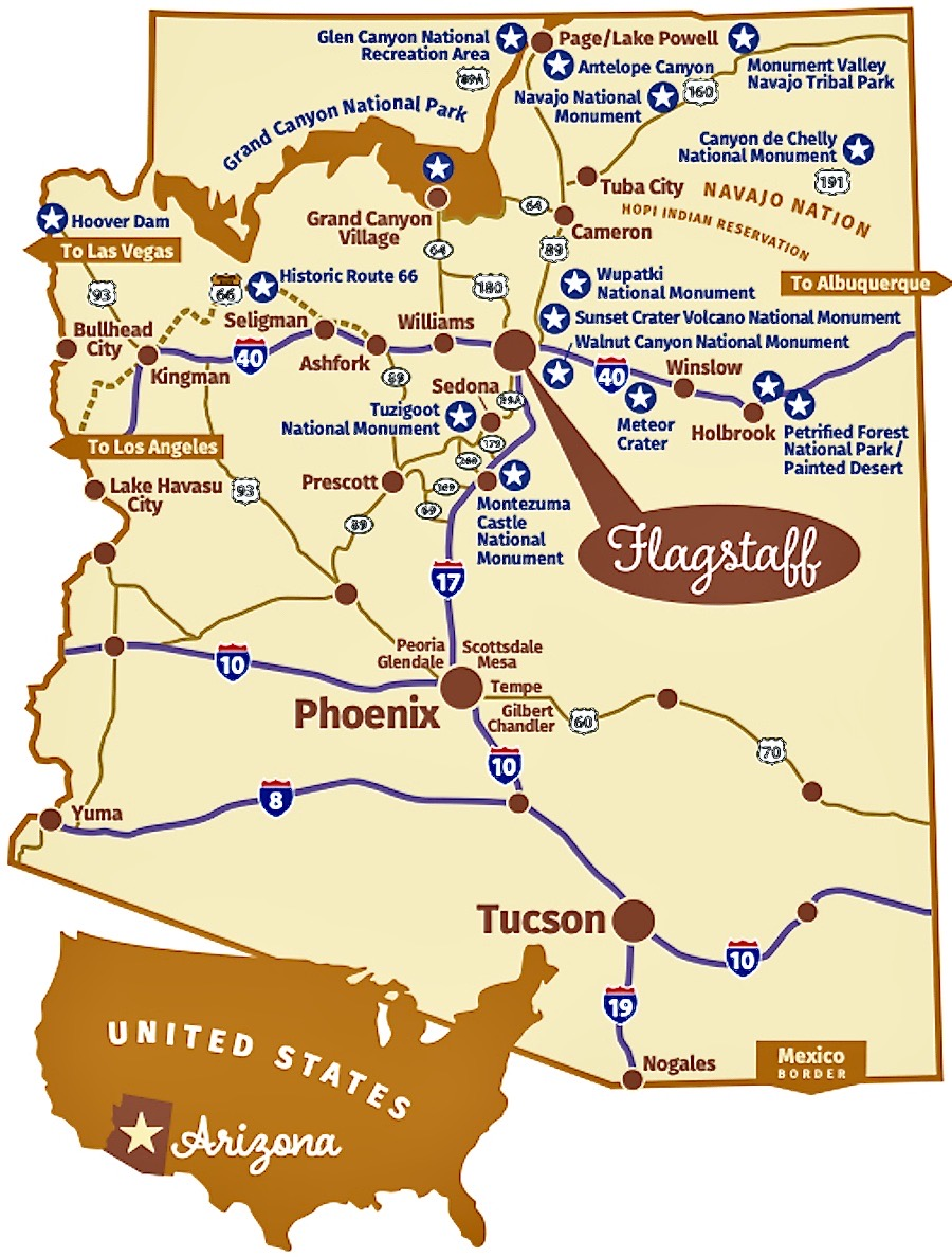 Flagstaff Arizona Map - Tour Flagstaff Attractions On Your Own