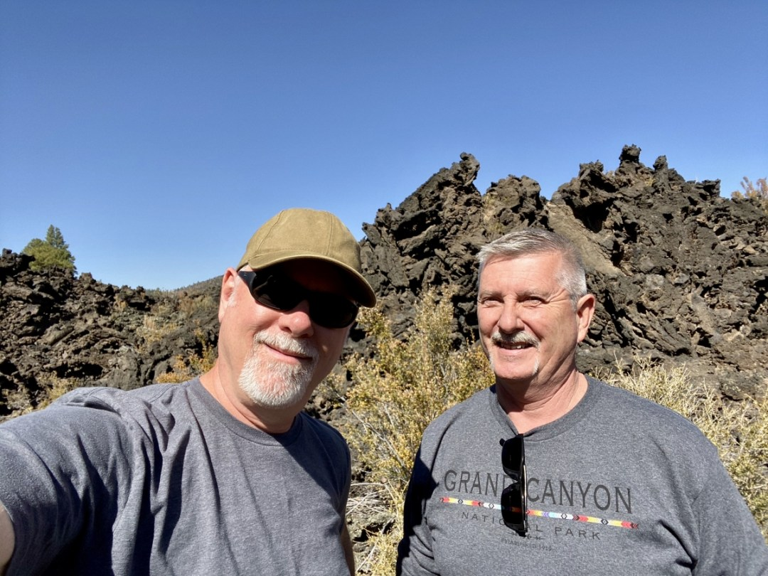Howard and Jerry at Sunset Crater Volcano NM - 3 Magnificent Flagstaff National Monuments