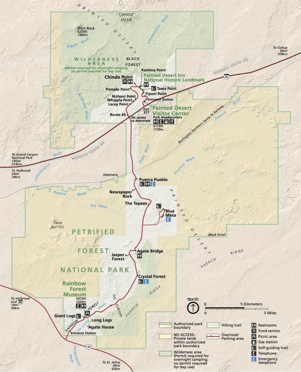 Petrified Forest National Park map - Drive the Painted Desert & Petrified Forest National Park