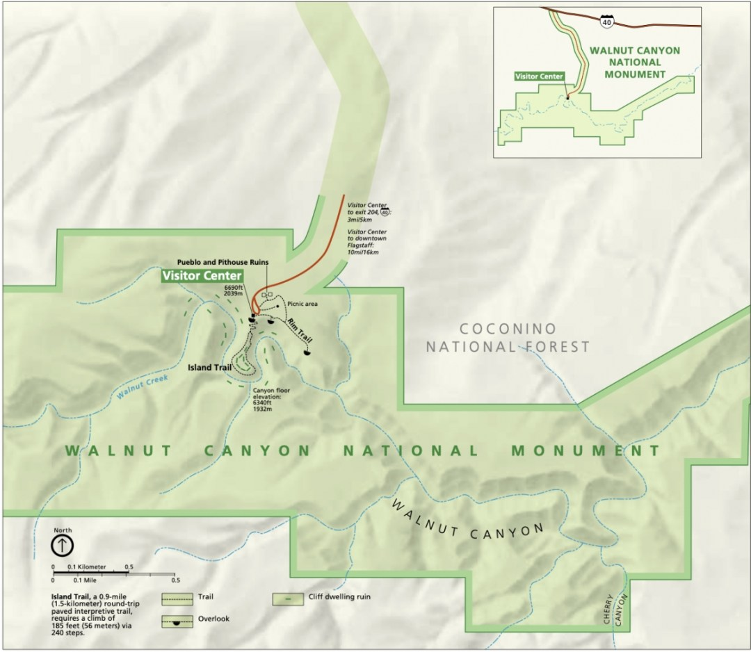 walnut canyon map - 3 Magnificent Flagstaff National Monuments