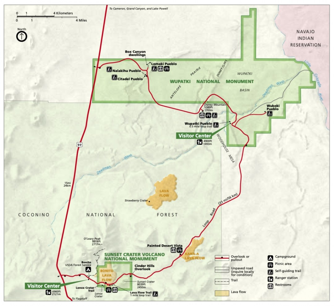 wupatki sunset crater map - 3 Magnificent Flagstaff National Monuments