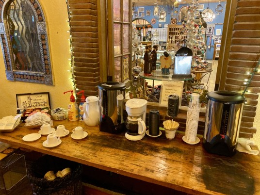 La Posada Hotel coffee station - Tons of Fun Things to Do in Winslow Arizona