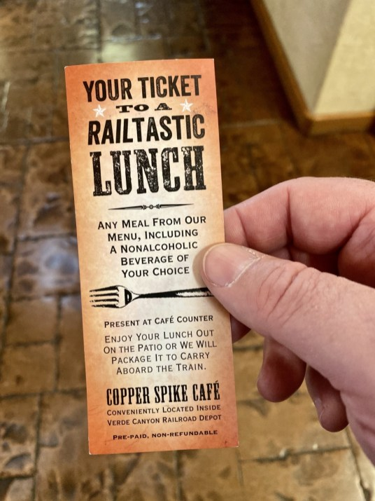 Copper Spike Cafe lunch voucher - Ride Arizona's Verde Canyon Railroad