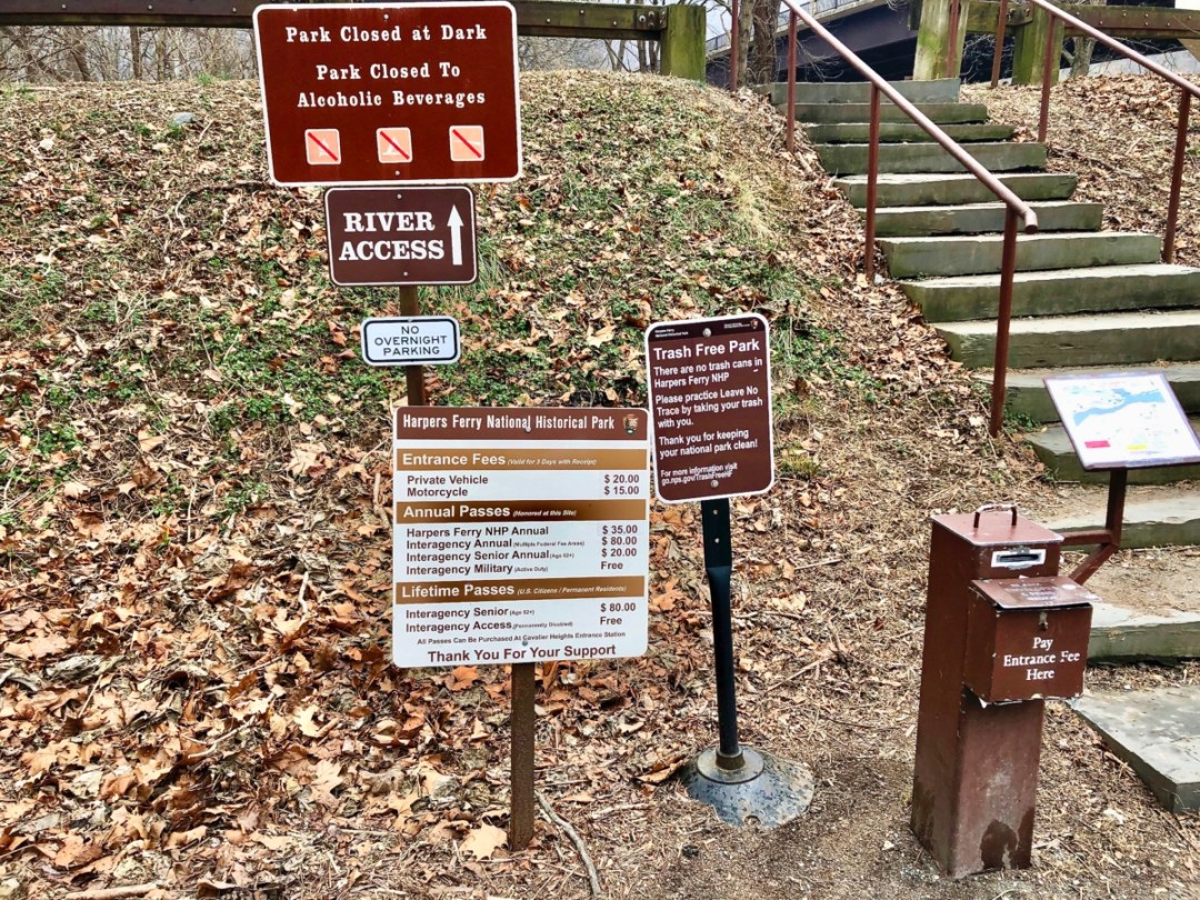 Harpers Ferry NHP admission signs - Things to Do in Harpers Ferry WV: History, Hikes & Whitewater