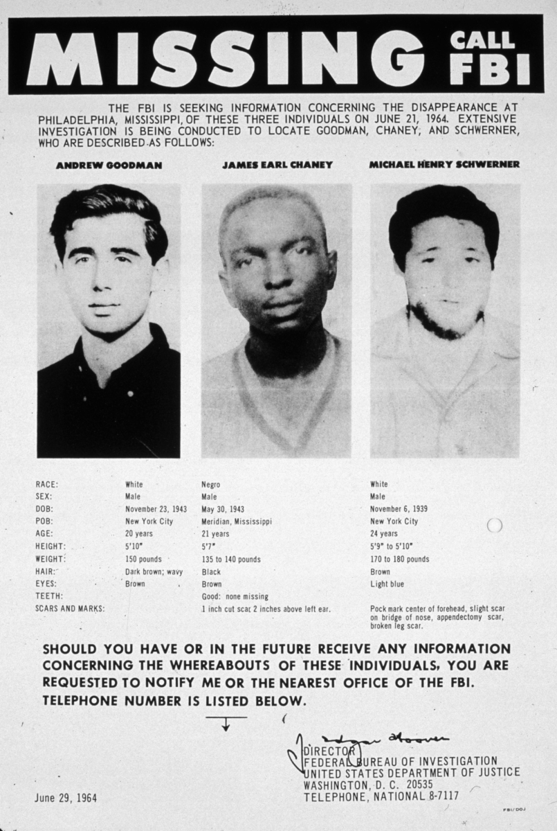 Schwerner Cheney Goodman FBI poster - Explore African American Heritage Sites in Hattiesburg MS