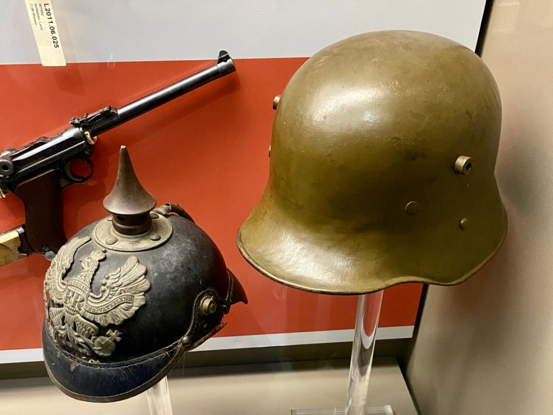 WWI German helmets - Visit the Mississippi Armed Forces Museum at Camp Shelby