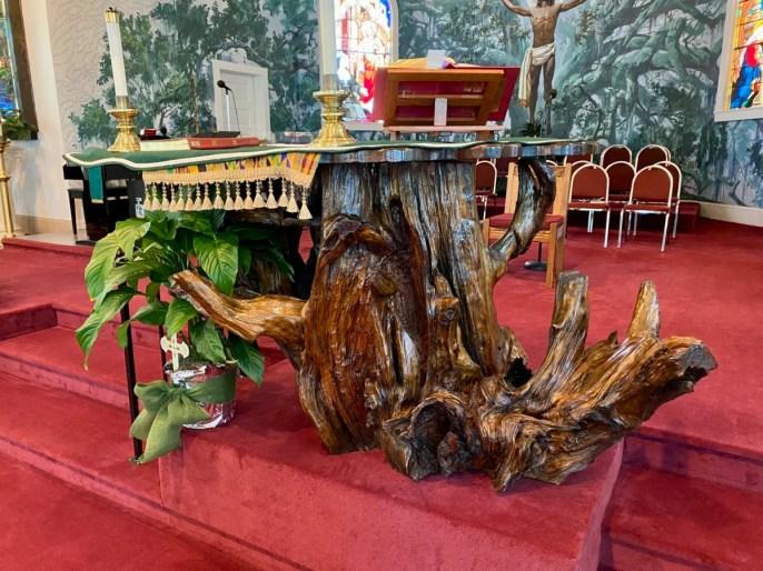 St. Rose de Lima driftwood altar - Discover Coastal Mississippi's African American Heritage
