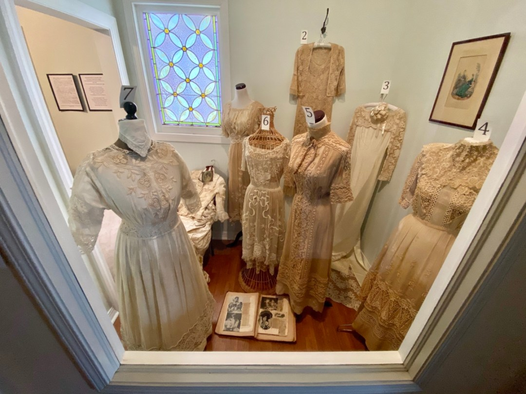 Eufaula Historical Museum vintage dresses display - Outdoor & Historical Things to Do in Eufaula Alabama