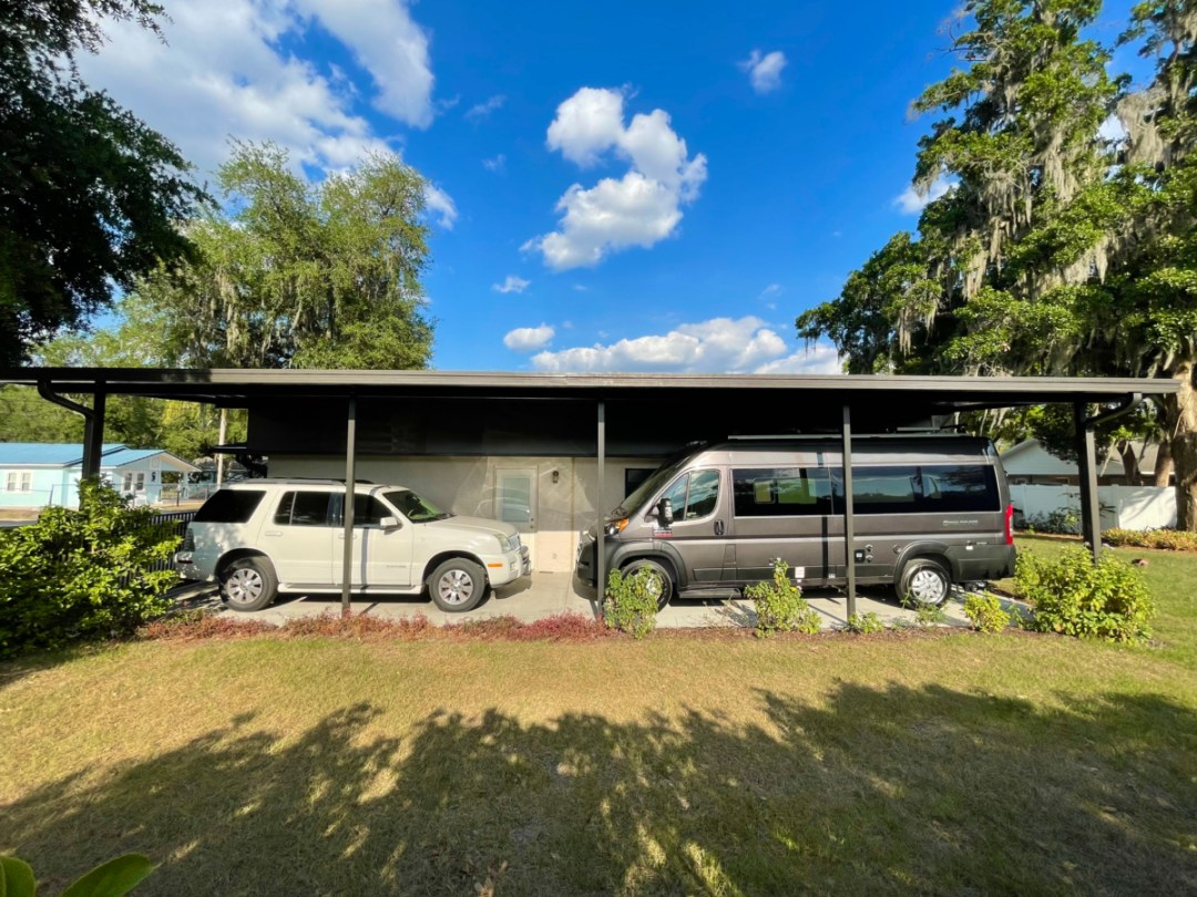 Completed Carport - A Guide for Buying a Camper Van: My Story & Lessons Learned