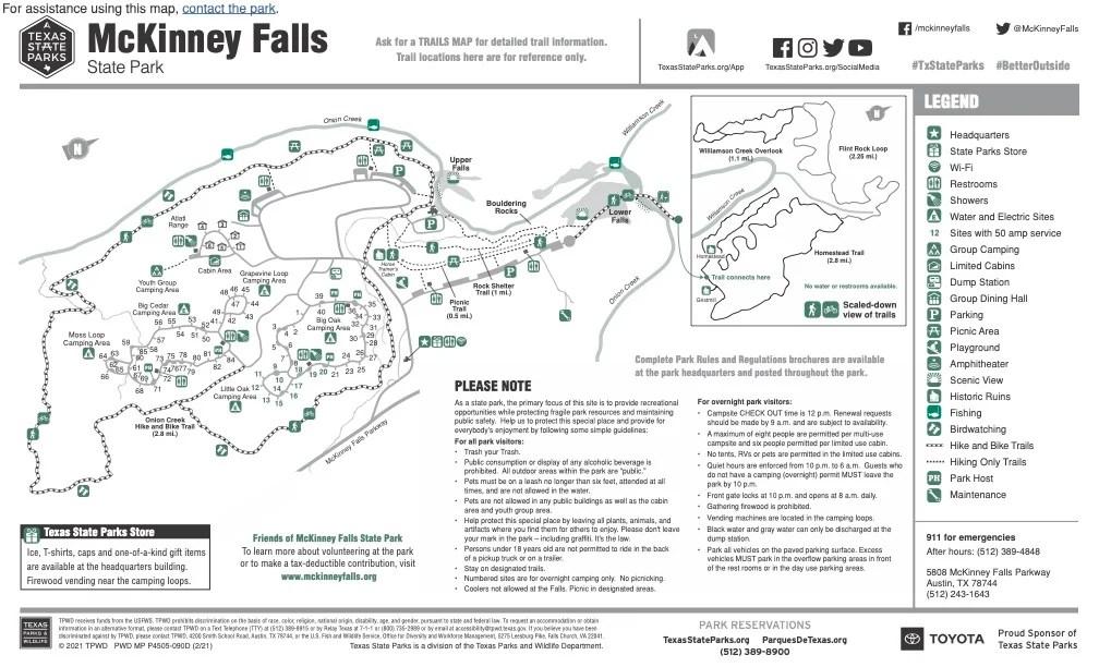 McKinney Falls State Park Map - Plan an Unforgettable McKinney Falls State Park Camping Trip