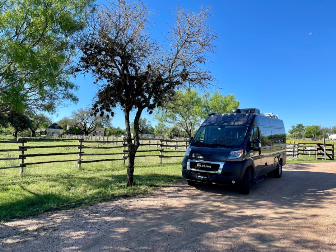 camper van at Johnson Settlement - Explore LBJ Ranch and the Texas Hill Country