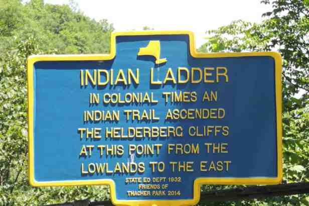 An Indian Trail was a tall tree that was felled against the side of the cliff for climbing