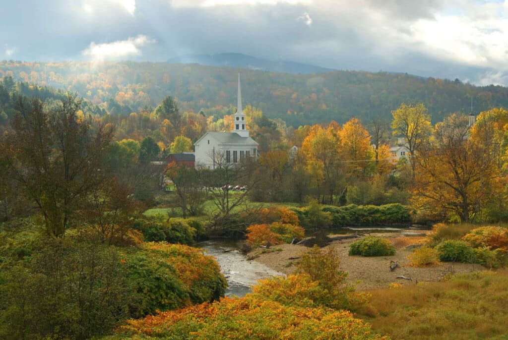 A photo of a church in Stowe, Vermont by Ryan Taylor Autumn in Vermont