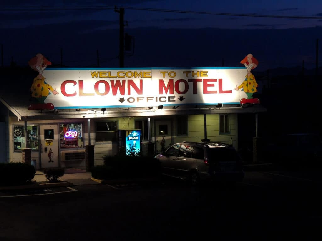 The Clown Motel offices at night