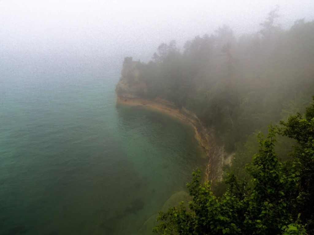 A foggy view of Lake Superior from Pictured Rocks National Lakeshore