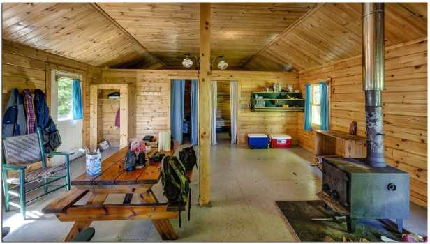 inside of a camping cabin in Maine