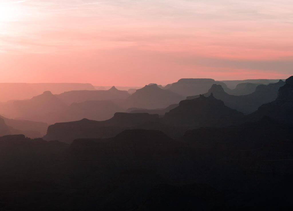 Sunset silhouette of Lipon Point, Grand Canyon National Park