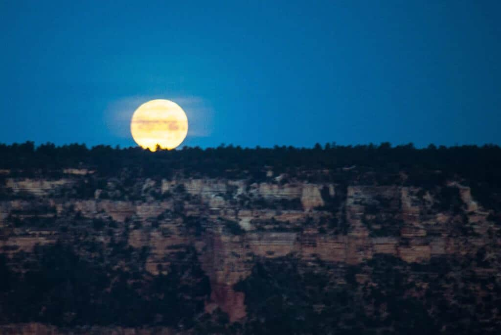 The moon setting over the Grand Canyon at Moran Point