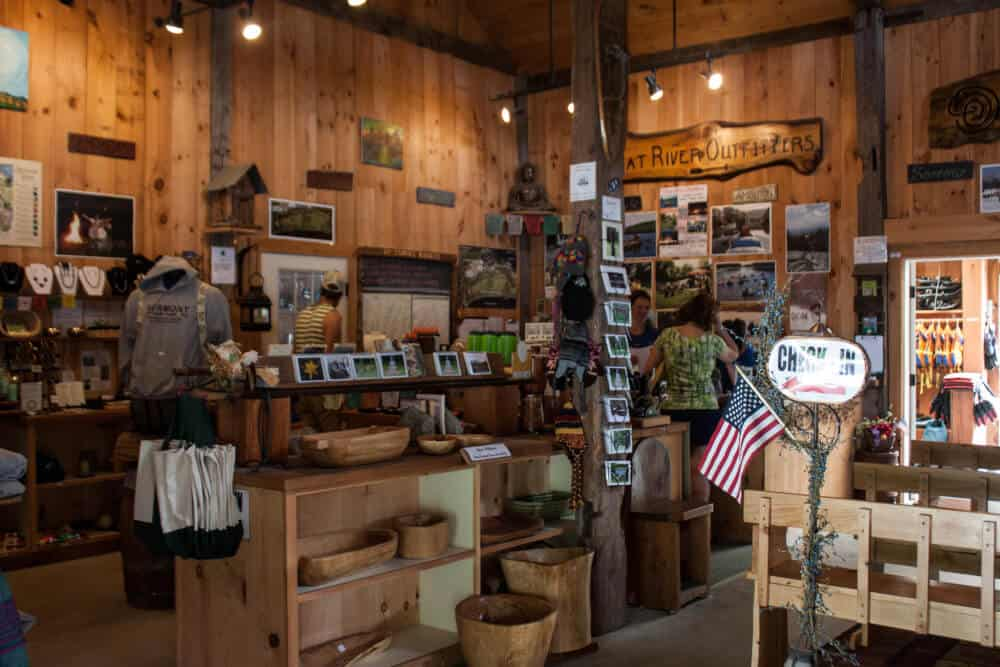 The inside of the store at Great River Outfitters in Windsor, VT