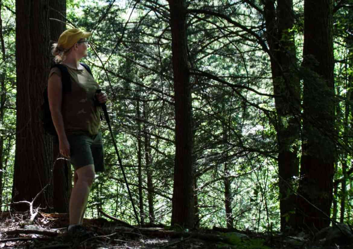 A woman standing on a trail in the woods, looking at the view