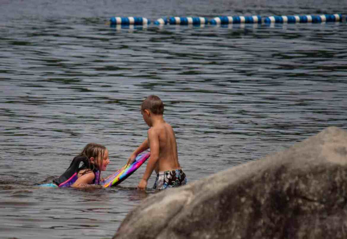 Two young swimmers at Boulder Beach State Park