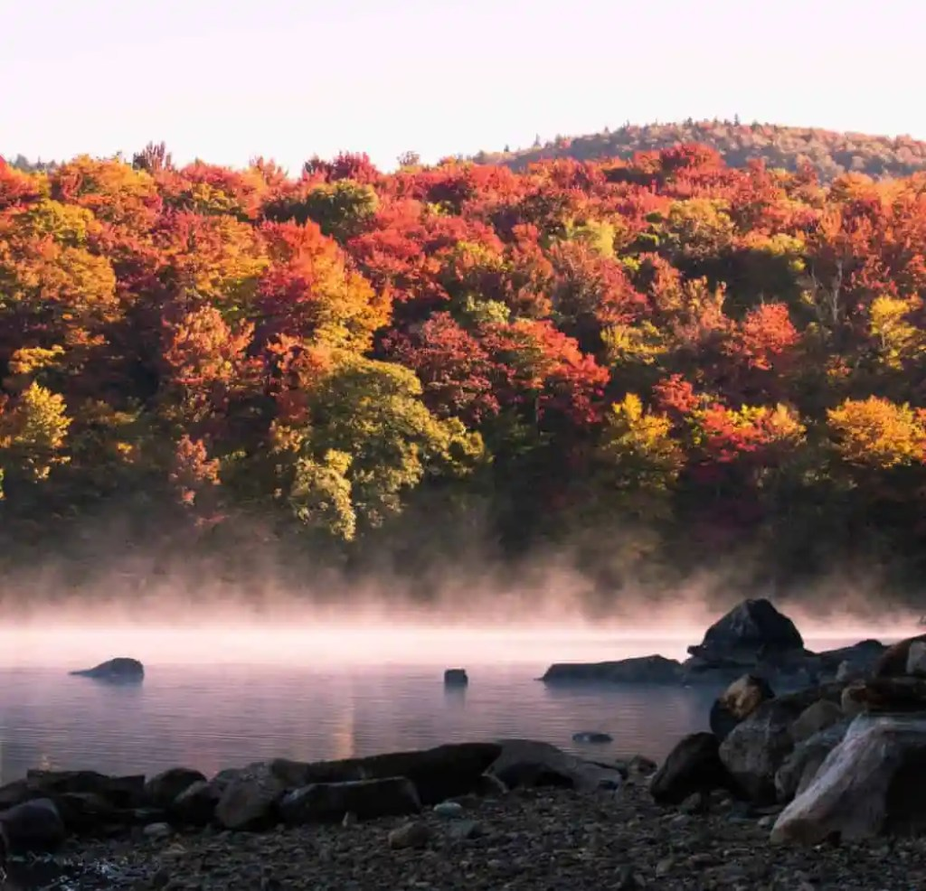 An early morning shot of Somerset Reservoir, Vermont in the fall