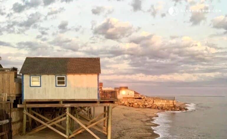 A small cottage on the ocean in Rhode Island.
