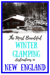 A log cabin overlooking a waterfall in the snow. Caption reads: The most beautiful winter glamping destinations in New England.