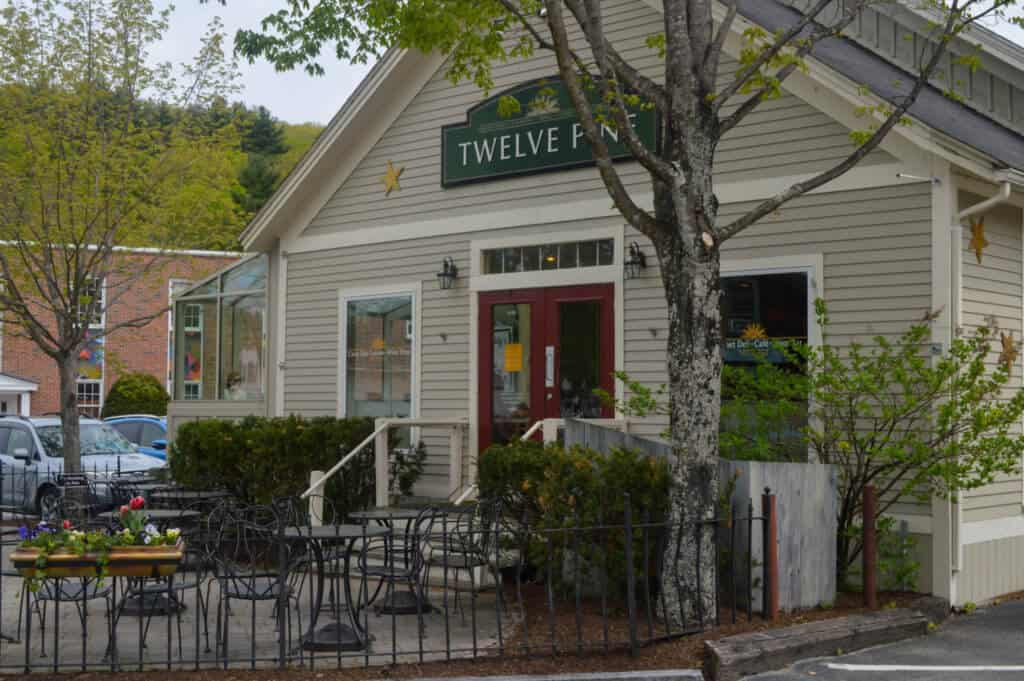 The outside of Twelve Pine restaurant in Peterborough, NH
