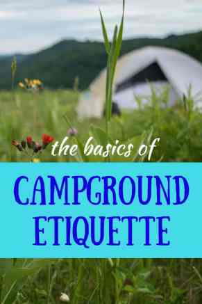 A tent in a field of flowers - overlay: The basics of campground etiquette