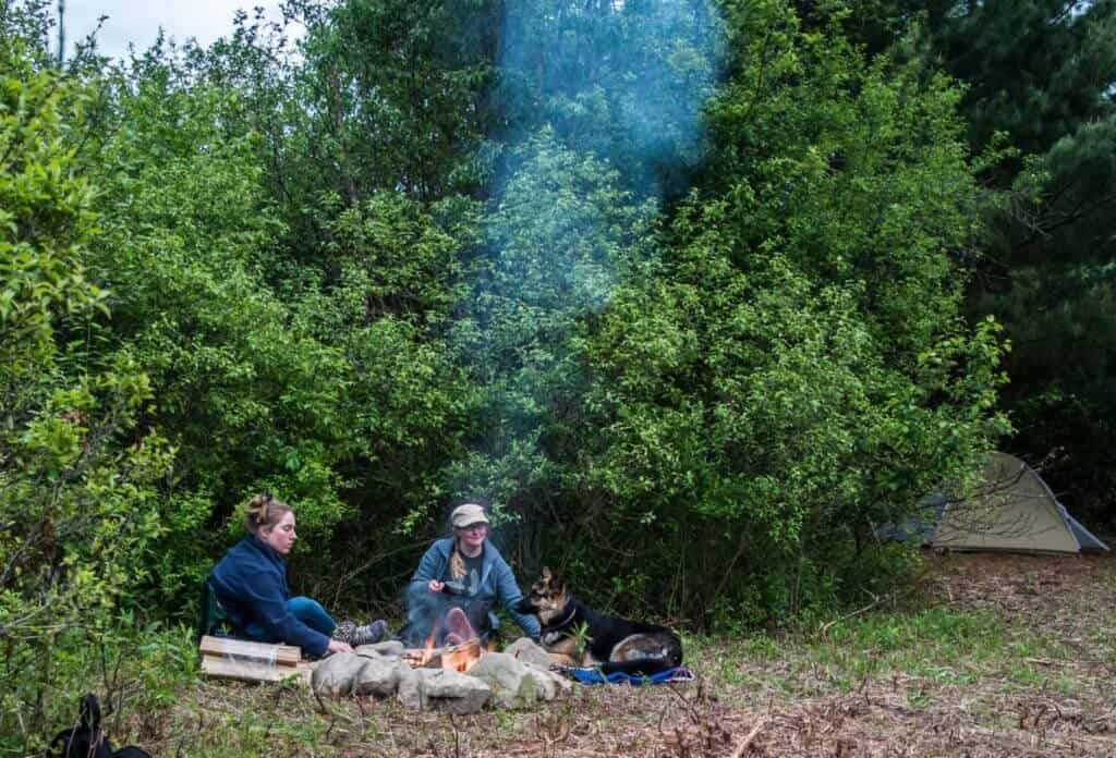 two women sit around a campfire with a German shepherd.