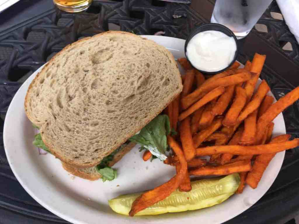 A sandwich and sweet potato fries at Six Pence Pub