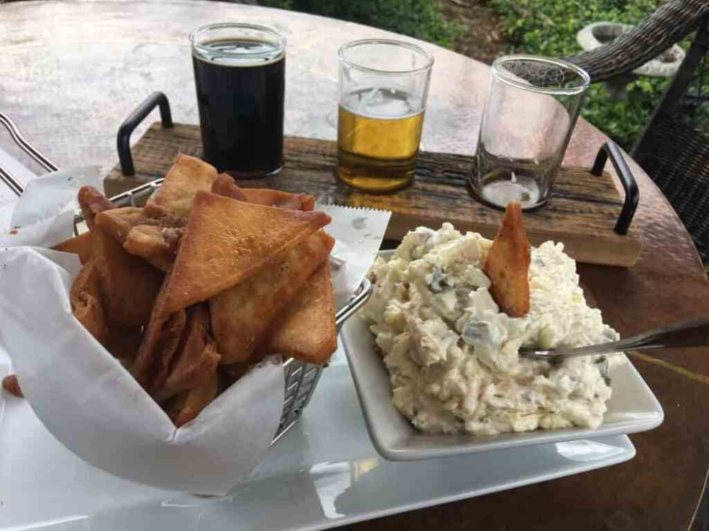An appetizer and beers at the Blowing Rock Ale House