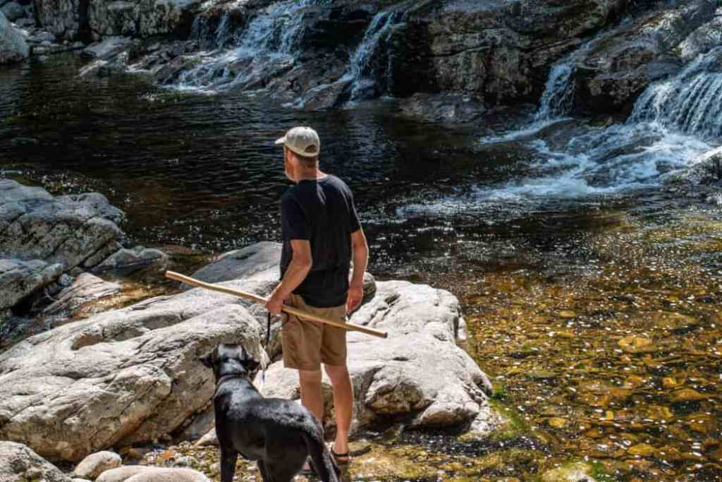 A tall man and a black Labrador standing next to a small waterfall in New Hampshire