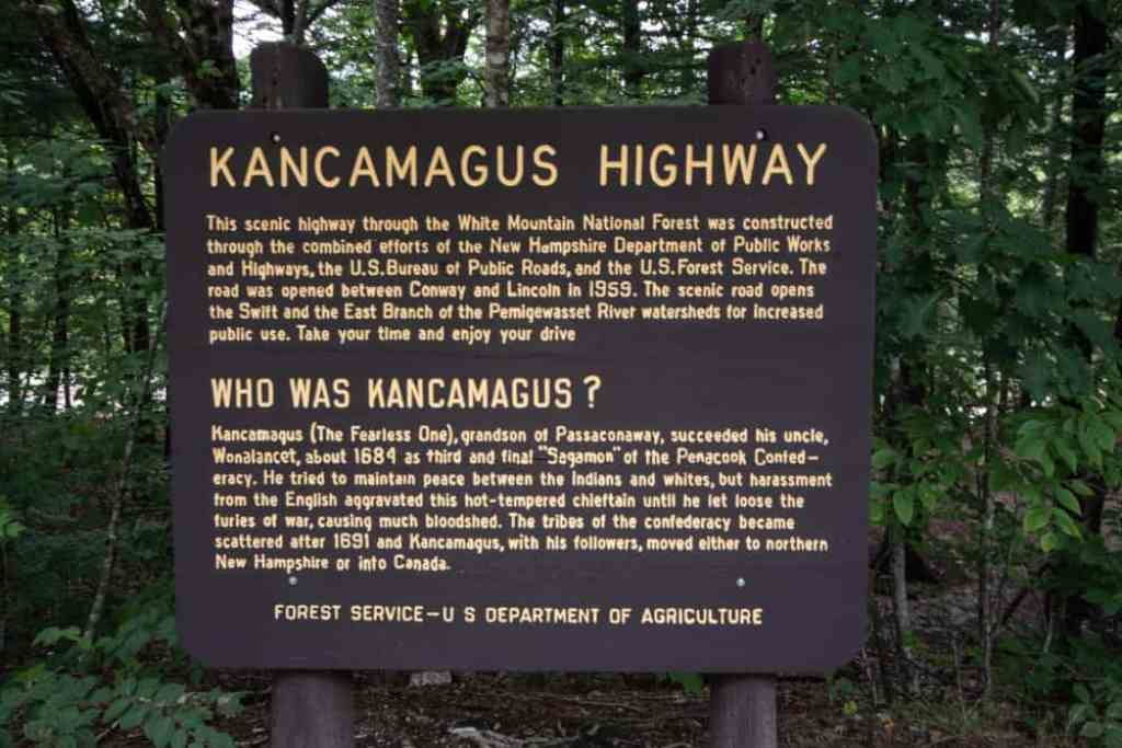 A sign in the White Mountain National Forest with information about the Kancamagus Highway
