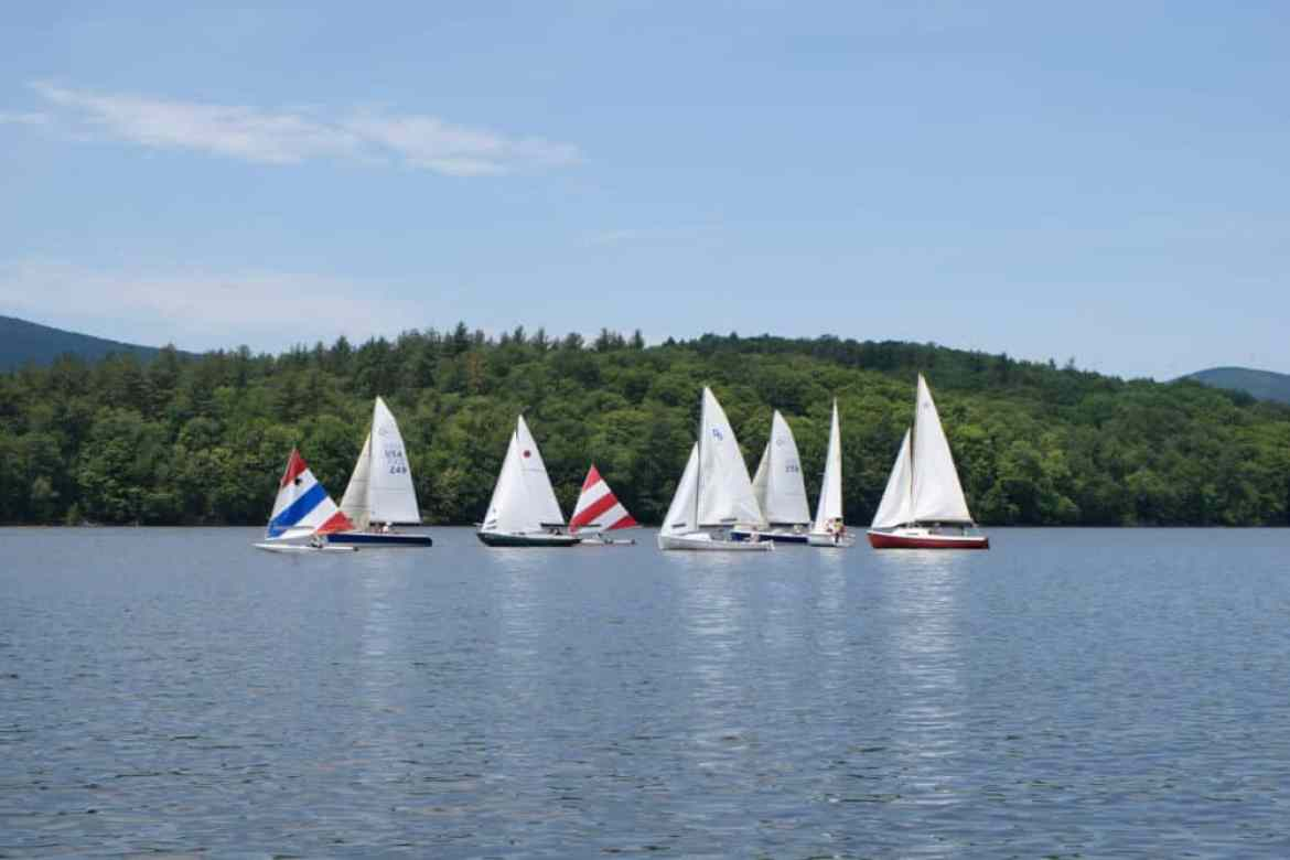 Several small sailboats on Lake Whitingham in Wilmington, VT