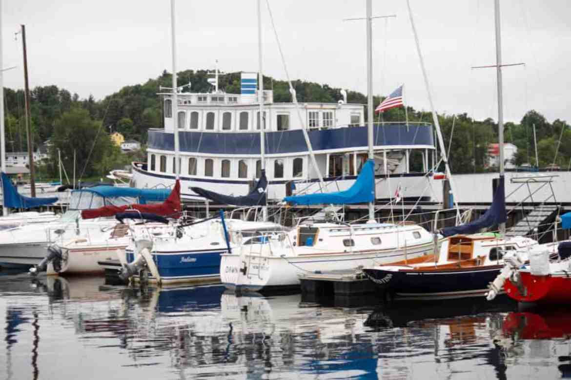 Several boats in the marina in Newport, VT