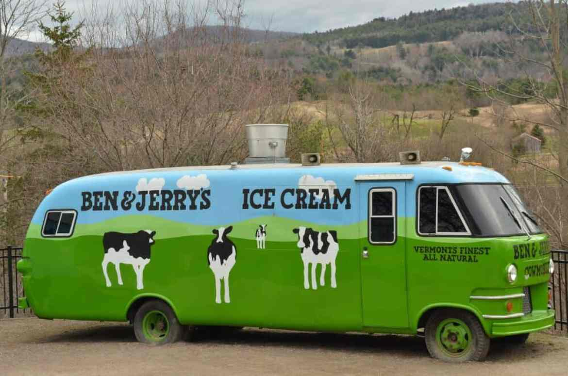 A photo of the Ben & Jerry's bus in Waterbury