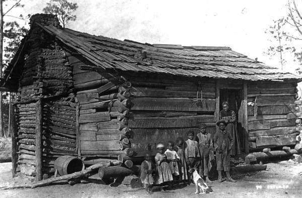 Antique Log Cabins Black  White  Back Roads Living