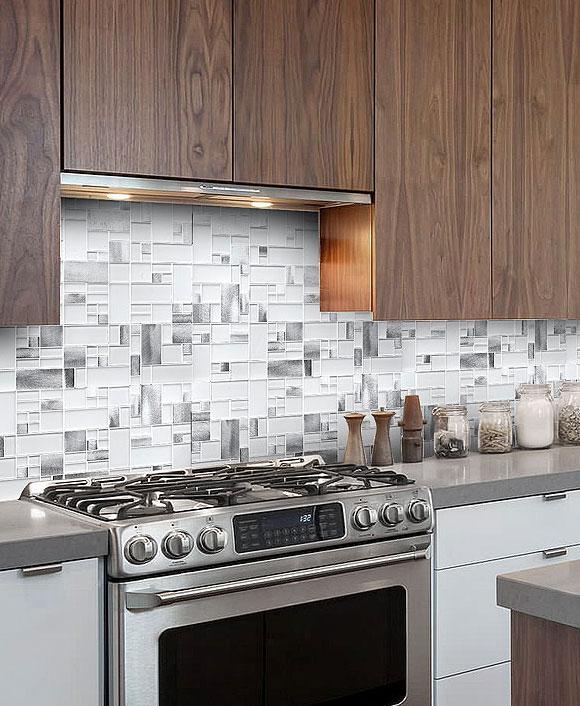Easy Kitchen Backsplash Ideas: White Glass Metal MODERN BACKSPLASH TILE For Contemporary