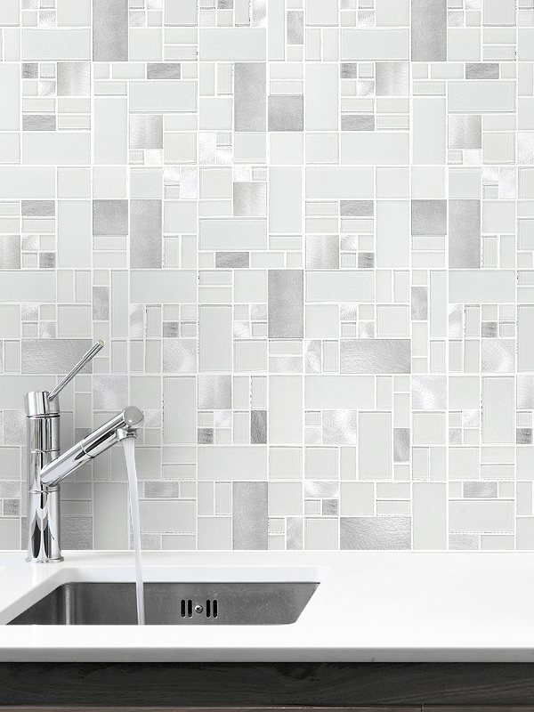 White glass metal modern backsplash tile