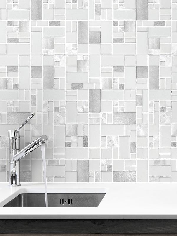 white glass metal modern backsplash tile  contemporary  modern projects