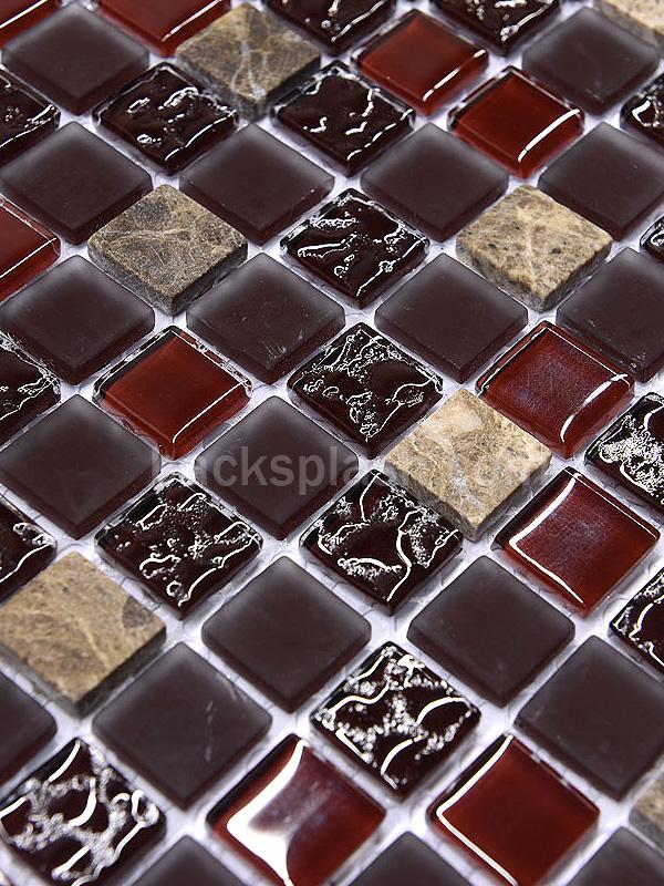 Burgundy Marble Amp Glass Mixed Mosaic Backsplash Tile