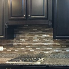 Tile Backsplash Ideas For Kitchen Freestanding Pantry Brown Metal Glass Mixed Mosaic