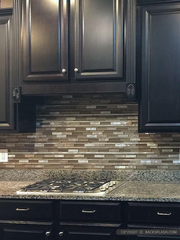 slate backsplash in kitchen hutch cabinet brown metal glass mixed mosaic tile