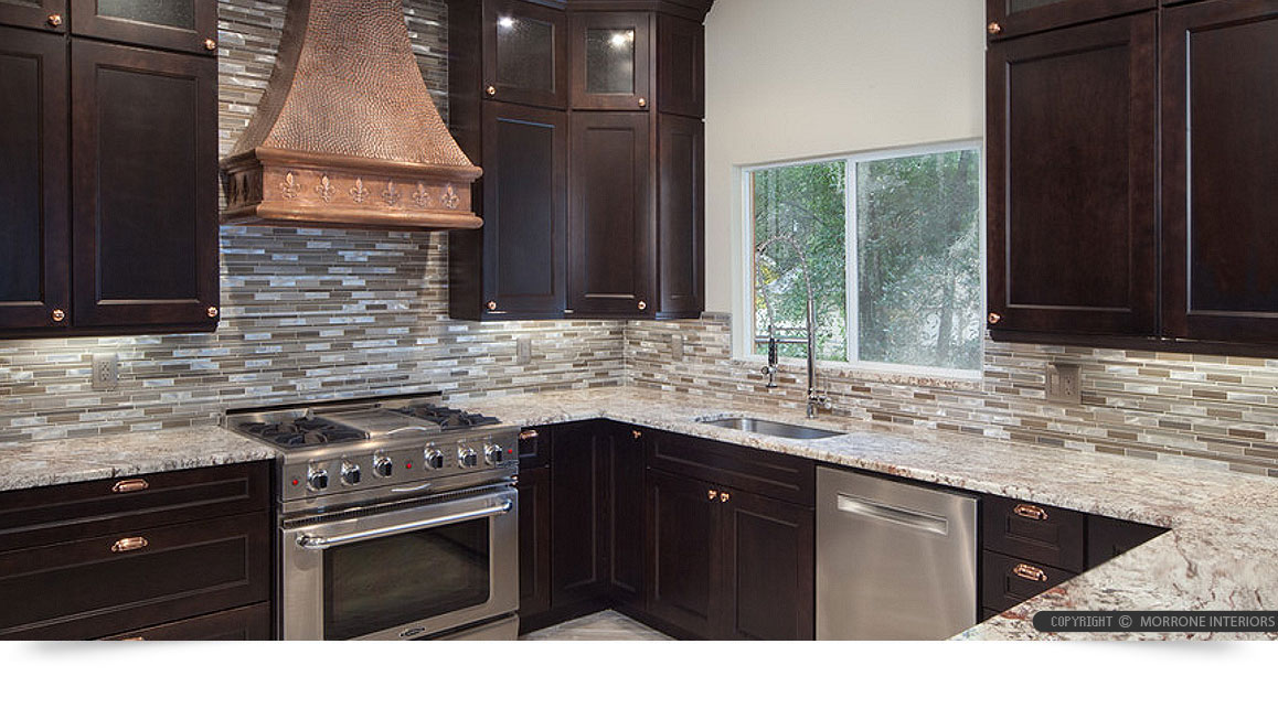 replace kitchen cabinets moen faucets brown metal glass mixed mosaic backsplash tile