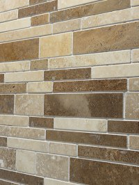 TRAVERTINE SUBWAY MIX Backsplash Tile   Ivory Beige Brown