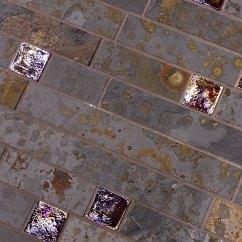 Gray Kitchen Backsplash Canisters Sets Brazilian Rusty Slate Subway Glass Tile