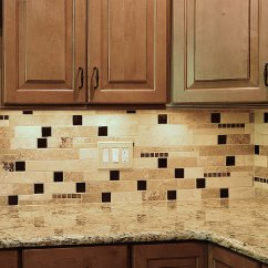 Slate Kitchen Backsplash Recycling Center Brown Glass Travertine Mix Tile For Traditional ...
