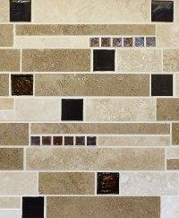 BROWN GLASS TRAVERTINE Mix Backsplash Tile for Traditional ...